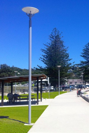 Park pole on beach concourse